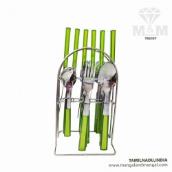 Elegante Candy Stainless Steel Cutlery Set / 24 Pcs Stainless Steel Cutlery Set with Hanging Rack