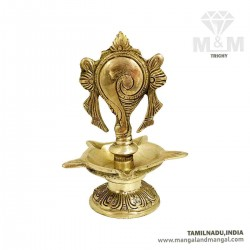 Brass 5 Face Vishnu Shankh Oil Lamp / Sangu Vilakku / Shankha Diya / Decorative Shank Ghee Lamp
