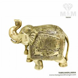 Beautifully Engraved Brass Elephant Statue Trunk Up Showpiece Big Size