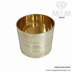 Brass Conventional Rice Grains Measuring Pot / Kubera Padi / Nira Para