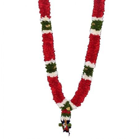 Decorative Handmade Red and White Satin Ribbon Garland / Maalai