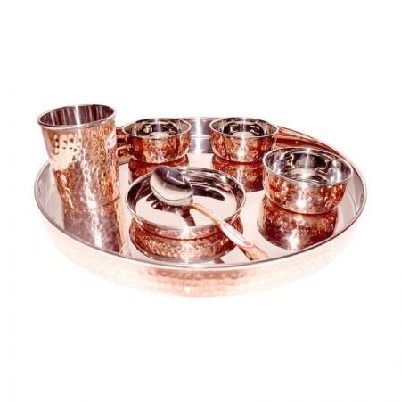 Hammered Steel Copper Dinner Set / Thali Set of 7 Pieces