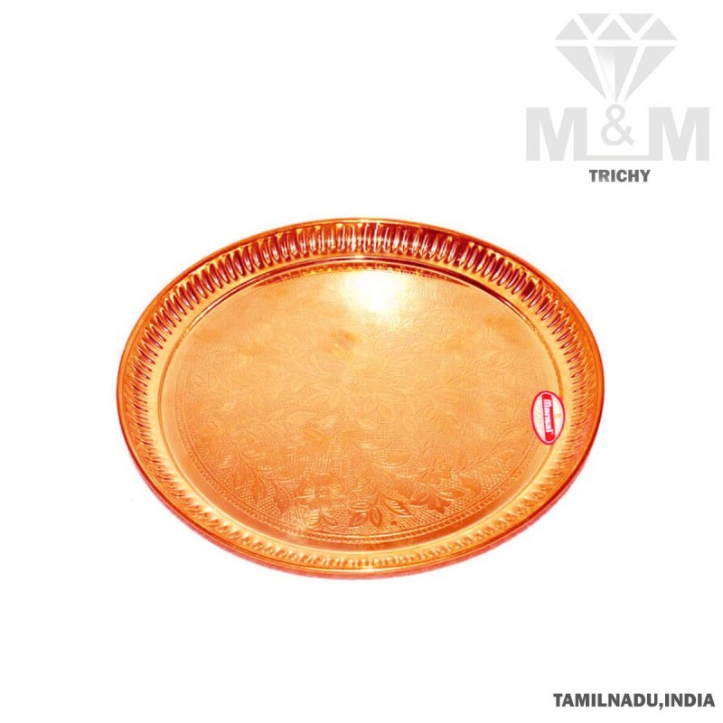 Copper Floral Design Puja Plate / Thali / Taalam