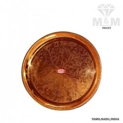 Copper Floral Design Pooja Plate / Thali / Taalam
