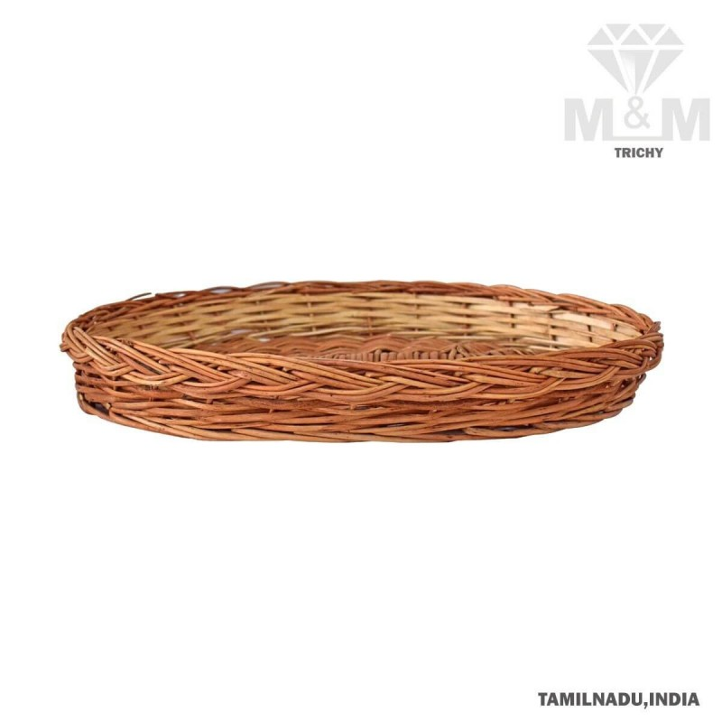 Handicrafts Eco Friendly Oval Woven Wicker Cane Bamboo Tray