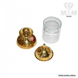 Brass Divine Borosil Akhand Diya / Agal Vilakku / Oil Diya with Glass
