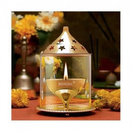 Brass Divine Borosil Akhand Diya Medium / Agal Vilakku / Oil Diya with Glass