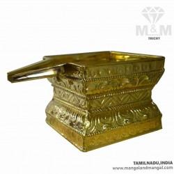 Floral Square Abhisheka Patra in Brass / Thirumanjana Tray / Komugam / Pooja Abhishek Bathing Patra