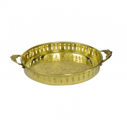 Brass Decorative Round Tray with Handle
