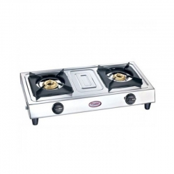 Prestige Star L.P. Gas Stove Two Brass Burner With Stainless Steel