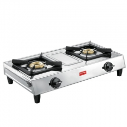 Prestige Eco L.P. Gas Stove Two Brass Burner With Stainless Steel