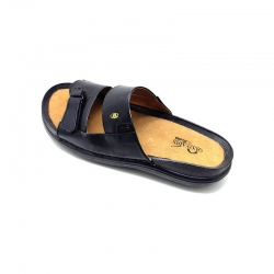 Bata Quovadis Black Leather Sandals - 875-6718 Size - 8