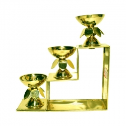 Brass 3 Step Fancy Diya Oil Lamp / Padi Vilakku