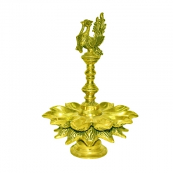 Brass Decorative Peacock Oil Lamp 11 Wick Diya Stand Antique Finish