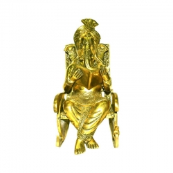 Brass Lord Ganesha Statue Sitting On a Chair and Reading Book