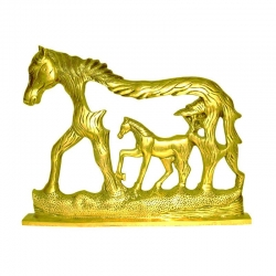 Brass Horse and Foal Decorative Showpieces