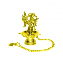 Brass Decorative Peacock Wick Hanging Oil Lamp