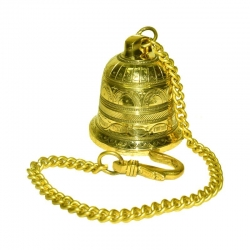 Brass Wall Hanging Bell with Chain
