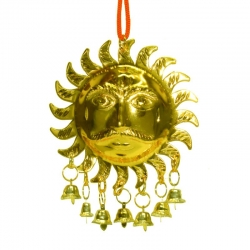 Brass Lord Surya Dev Wall Hanging Bells