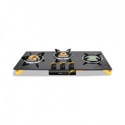 Vidiem Air Oro Ceramic 3 Burner Glass Top Gas Stove ( 2 Brass Burner& One Ceramic Burner )