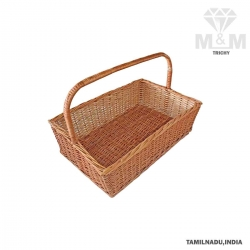 Handicrafts Eco Friendly Rectangular Woven Wicker Cane Bamboo Basket