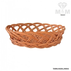 Handicrafts Eco Friendly Round Shape Woven Wicker Cane Bamboo Basket