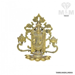 Brass Lord Balaji Wall-Hanging Diya / Decorative Tirupathi Venkatesa Oil Lamp