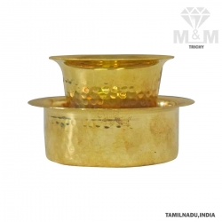 Brass Coffee Davara Set with Dabara Hammered Finish