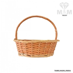 Handicrafts Eco Friendly Round Shape Woven Wicker Cane Bamboo Pooja Basket with Handle