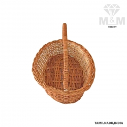 Handicrafts Eco Friendly Oval Shape Bamboo Cane Pooja Basket with Handle