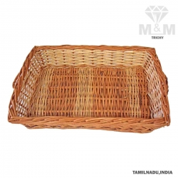 Handicrafts Eco Friendly Rectangular Bamboo Cane Basket with Handle