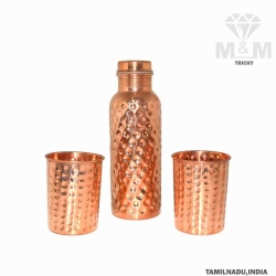 Hammered Pure Copper Water Bottle with Set of 2 Glass
