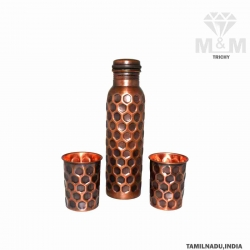 Artisan Hammered Pure Copper Water Bottle with Set of 2 Glass