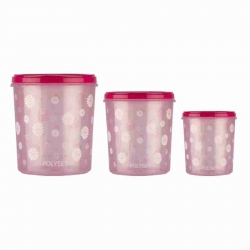 Polyset Round Shape Air Tight Star Staple Storage Container Set of 3 Pcs (10L, 7L, 5L)