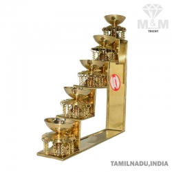 Brass 5 Step Fancy Diya Oil Lamp / Padi Vilakku / Pyali Nanda Chain Oil Diya