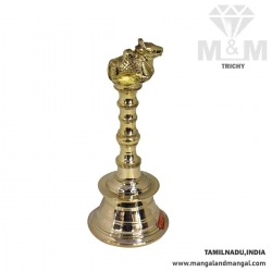 Brass Hand Pooja Bell / Mani / Pooja Ghanti with Nandhi Sitting On Top