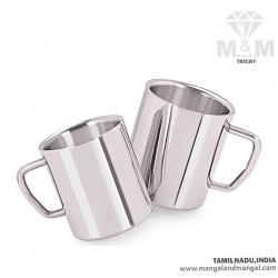 Komal Stainless Steel Double Wall Big Sober Mug - Set of 2