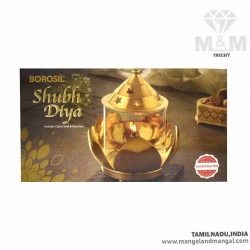 Brass Divine Borosil Shubh Diya / Agal Vilakku / Oil Diya with Glass and Lid