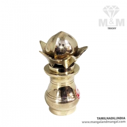 Brass Mangal Kalash with Coconut and Mango Leaves / Purna Kumbha Kalash for Home Puja