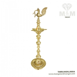 3.25 Feet Brass Traditional Swan Kuthu Vilakku / Maha Stand Diya / Peacock Bird and Floral Embossed Oil Lamp