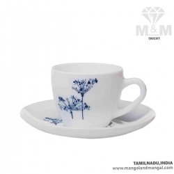 La Opala Ceramic Tea & Coffee Cup and Saucer Set 4 N - Princess Aqua Spray