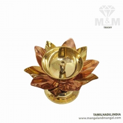 Brass and Copper Lotus Vilakku / Thamarai Fancy Vilakku / Stand Diya / Brass Agal Vilakku with Stand