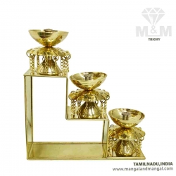 Brass 3 Step Fancy Diya Oil Lamp / Padi Vilakku / Pyali Nanda Chain Oil Diya