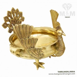 Brass Peacock Urli for Floating Flowers and Candles / Beautiful Peacock Design Urli Bowl / Decorative Brass Urli Pot