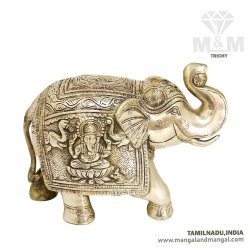 Antique Finish Lord Ganesh and Lakshmi Engraved Brass Elephant Statue Trunk Up Showpiece Big Size