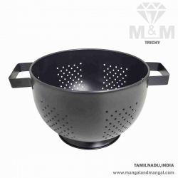 Black Powder Coated Stainless Steel Colander / Strainer / Colander Bowl with Handle