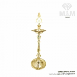 Tamilnadu Special Brass 2 Feet Kuthu Vilakku / Traditional Brass Hand Carved 5 Wick Oil Lamp / 5 Face Brass Stand Lamp