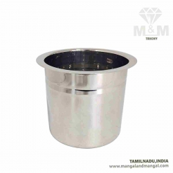 Crown Stainless Steel Adukku Pot with Flat Bottom - Baby Size / Ever Silver Poni / Multipurpose Use Container Pot