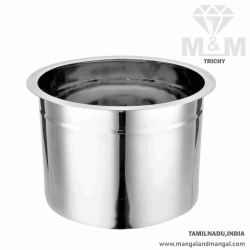 Crown Stainless Steel Adukku Pot with Flat Bottom - Medium Size / Ever Silver Poni / Multipurpose Use Container Pot