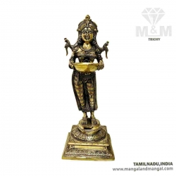 Brass Antique Paavai Vilakku With Beedam